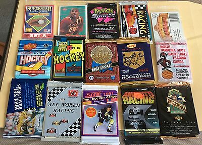Lot Of 55 Assorted Sports Trading Cards Sealed Wax Packs & Inserts