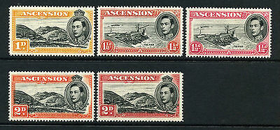 Ascension 1938 KGVI p/set (5v.) perf 14 mint