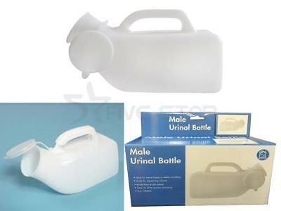 Mens Portable Urinal Bottle With Lid Camping Travel Home Aid Includes Handle