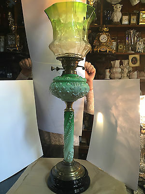 1890 Victorian Oil Lamp with Original Shade