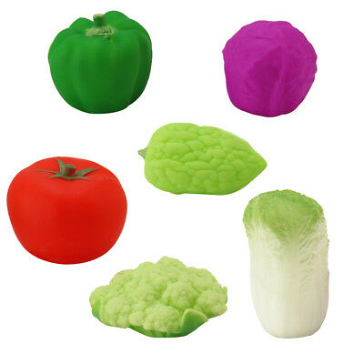 6pcs Rubber Squeaky Vegetable Water Floats Tomato Green Pepper Baby Bath Toy
