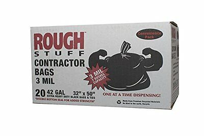 Black Contractor Bags, 3 MIL Extra Heavy Duty, 42 Gallon, 20 Count