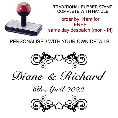 Personalised Wedding Rubber Stamp 11617 Scroll Party Tags Bags Favours Invites