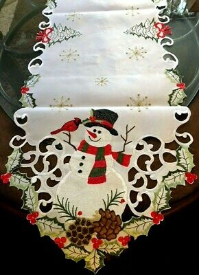 Holiday Rustic Snowman Snowflakes & Cardinal Christmas Decor Table Runner 68 x13