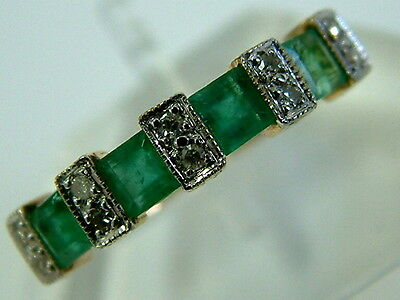 Art Deco Look 9Ct Yellow Gold Emeralds And Diamonds Half Eternity Ring