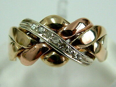 Sweet 9Ct Rose/yellow/white Gold Puzzle Style Ring With Diamonds - Small Size K