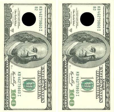 Realistic One Hundred Dollar Bill Cornhole Board Skin Wrap Decal FREE SQUEEGEE