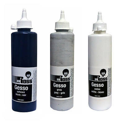 Bob Ross Gesso Primer for Oil & Acrylic Painting - Black, White or Grey 500ml