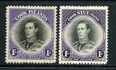 Cook Islands 1938 + 1944 KGVI 1/- SG 127 + 143 mint