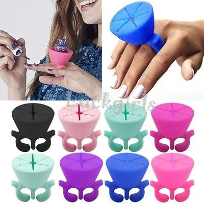 Soft Flexible Durable Wearable Nail Polish Bottle Holder Stand Fits All Finger