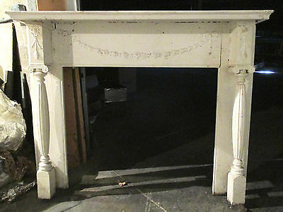 "Ornate Antique Walnut Fireplace Mantel 60 X 48 42"" Opening Architectural Salvage"