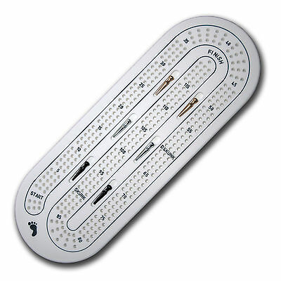 Evateak 360 White Solid Corian Cribbage Board/Card Game and 6 Metal Pegs