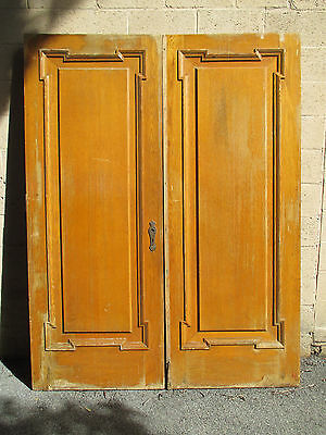 ~ ANTIQUE OAK DOUBLE ENTRANCE FRENCH DOORS 64 x 83.5 ~ ARCHITECTURAL SALVAGE ~