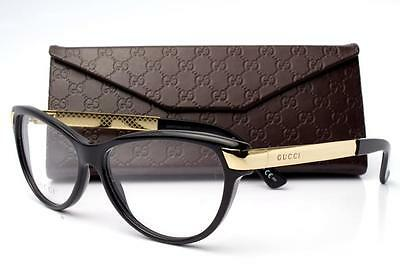 New Gucci GG 3652 Eyeglasses Frames Black Gold ANW Authentic 54mm