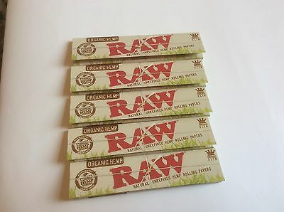 5 Pk Authentic  RAW NATURAL ROLLING PAPER ORGANIC HEMP KING SIZE SLIM