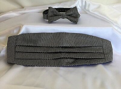 Cummerbund  Bow Tie Set Black Silver White Silk Adjustable