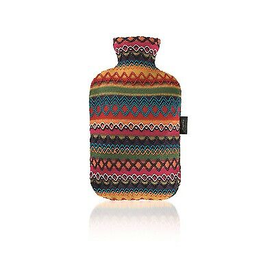 Fashy Hot Water Bottle & Peruvian Style Cover Red Orange Pink Blue Black White