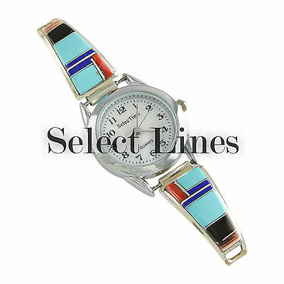 C.S. Lonjose Sterling Silver Multi Color Inlay Ladies' Watch Zuni Jewelry