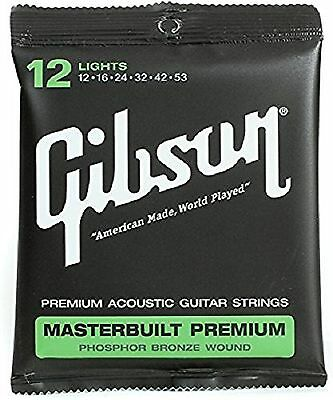 Gibson Gear Masterbuilt Premium Phosphor Bronze Acoustic Guitar Strings Light...