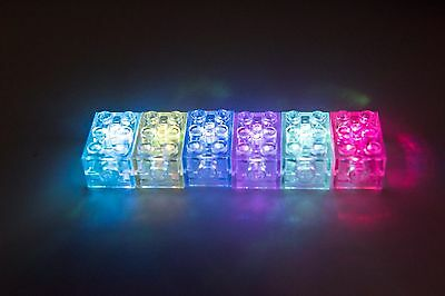 BULK - 6 X LIGHT UP 2 X 3 BATTERY BRICK BLINlKING 7 LED COLOURS LEGO COMPATIBLE