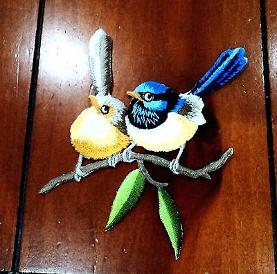 New Blue Wren Birds on Branch Embroidered Cloth Patch Applique Badge Iron Sew On