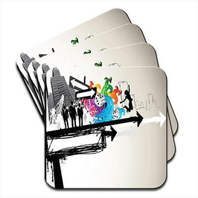 Movement In The City Modern Art Set of 4 Coasters