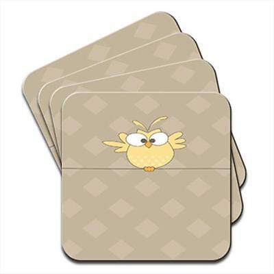 Big Eyed Yellow Owl Flapping Wings Set of 4 Coasters