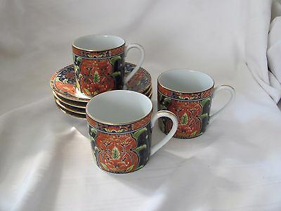 Takahashi 3 demitasse espresso cups & 4 saucers red gold green Japan