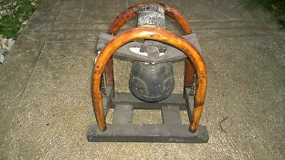 Antique Thai Elephant Metallic Bell on Bent Wood Stand