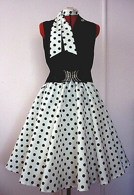 Rock N Roll/rockabilly Poodle Skirt & Scarf White & Black  Spot Size S/m