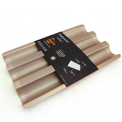 """15"""" Nonstick Perforated Baguette French Bread Loaf Tray Bread Baking Pan Mould"""