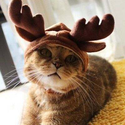 Cosplay Decoration Christmas Costume Pet Cat Doggy Antlers Cap Hat Pet Clothes