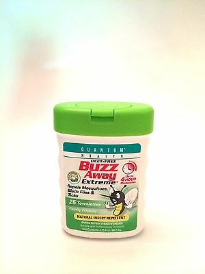 Quantum Health Buzz Away Extreme Insect Repellent Towelettes -25 per Container