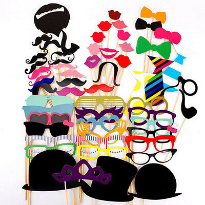 DIY 76 pcs Photo Booth Props Mustache On A Stick Weddings Birthday Party Game