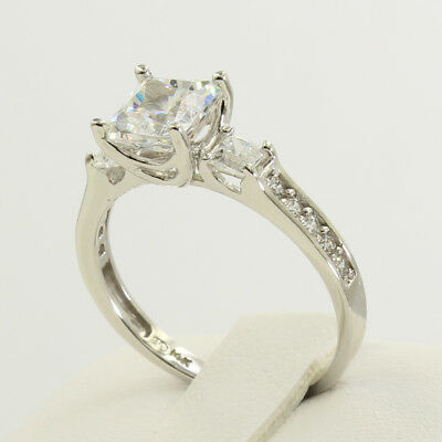 2 Ct 14K White Gold Princess Cut 3 Stone Engagement Wedding Propose Promise Ring