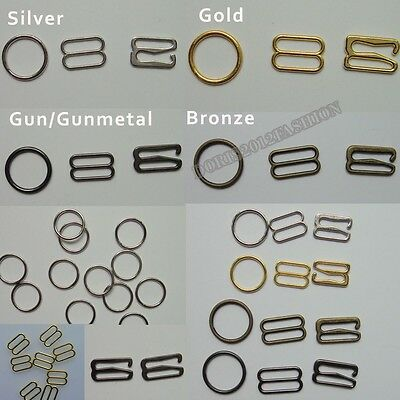 200pcs Metal Bra strap Adjustment slide Rings Hooks Figure 4color 8 & 0 &9 pick