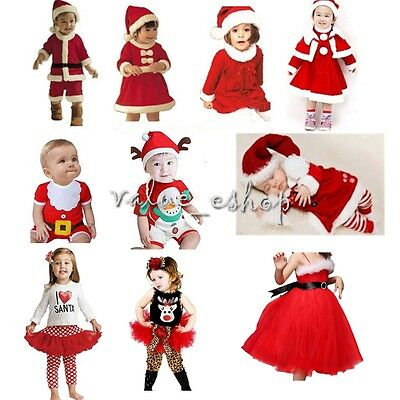 Baby Kids Boy Girl First Christmas Costume Outfit Suit Santa Party Dress Clothes