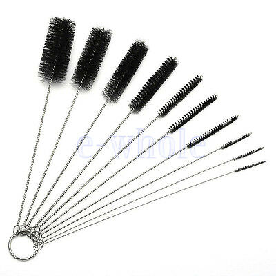 10 Nylon Stainless Steel Cleaners Cleaning Brushes for Tobacco Pipe Airbrush TW