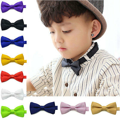 Baby Toddler Children Kids Boys Solid Bowtie Pre Tied Wedding Bow Tie Necktie