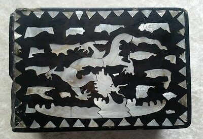 Antique Chinese black lacquer inlaid mother of pearl dragon design oriental