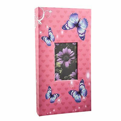 6''x4'' Designer Photo Album with 300 Pockets (Pink-Butterfly)