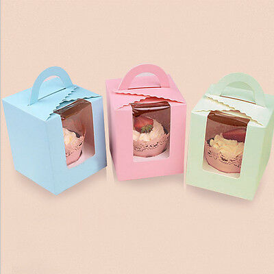1-10Pcs Single Cupcake / Muffin / Fairy Cake Boxes With Clear Window Gift Box