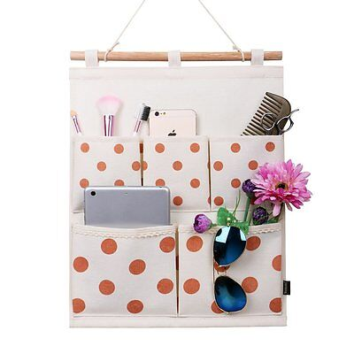 Homecube Linen Cotton Fabric Wall Door Cloth Hanging Storage Bag Case 5 Pocket