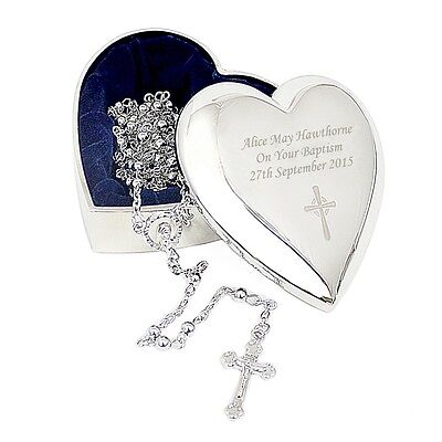 Personalised Rosary Beads And Cross Heart Trinket
