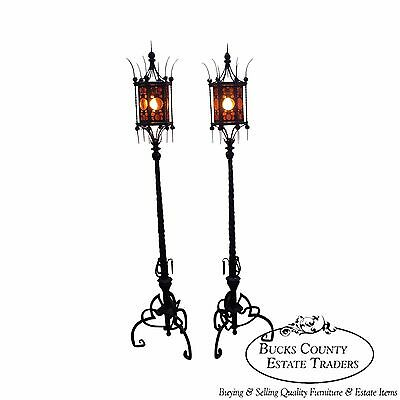 Exceptional Hand Wrought Iron Pair of Antique Gothic Style Torchier Floor Lamps