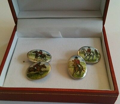 Solid Silver Hallmarked Hand Enamelled Fox Hunting Cufflinks  Collectables