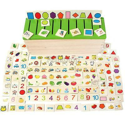 80 pieces Wooden Color & Shape Sorting Box with Sorting Lid - 8 Categories