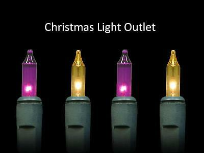 FREE SHIP 100 Mini Purple Gold LSU Christmas Party Outdoor Lights 23' Green Wire