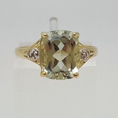 Gorgeous 9ct Gold Green Amethyst and Diamond Ring.  Goldmine Jewellers .
