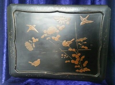 19th century Japanese black lacquered sewing jewellery box gold bird design